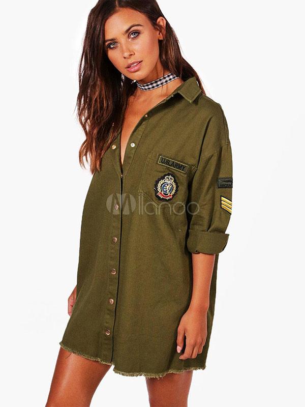 Women Shirt Dress Long Sleeve Turndown Collar Hunter Green Military Shift Dress (Women\\'s Clothing Shirt Dresses) photo