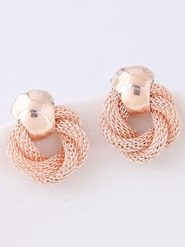 Golden Stud Earring Twisted Metallic Woven Alloy Women Earring thumbnail