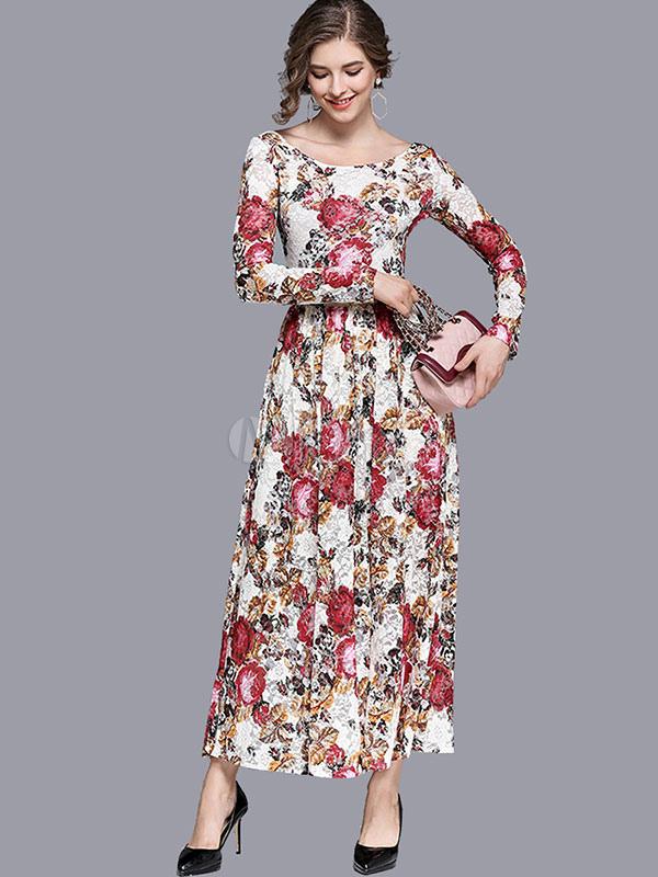 White Floral Maxi Dress Women Long Sleeve Round Neck Sash Long Prom Dress (Women\\'s Clothing Maxi Dresses) photo