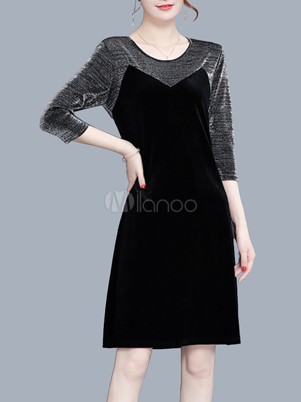 Black Shift Dresses Round Neck Long Sleeve Velour Fake Two-Piece Style Women Dress thumbnail