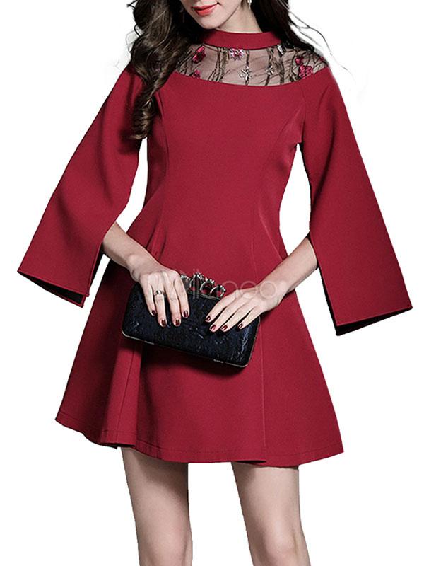 Women Mini Dress Round Neck Long Sleeve Split Brick Red Short Dresses (Women\\'s Clothing Mini Dresses) photo