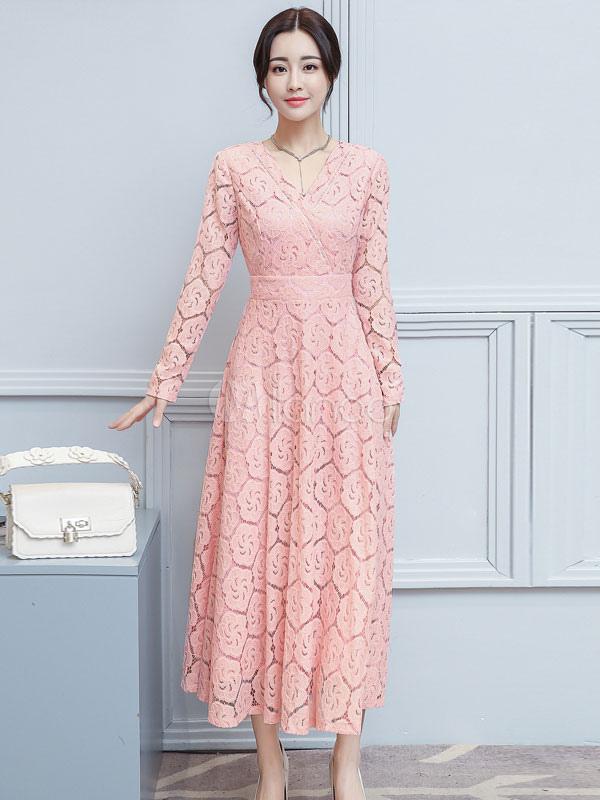 Women Lace Dress V Neck Pleated Long Sleeve Pink Women Spring Dress (Women\\'s Clothing Lace Dresses) photo
