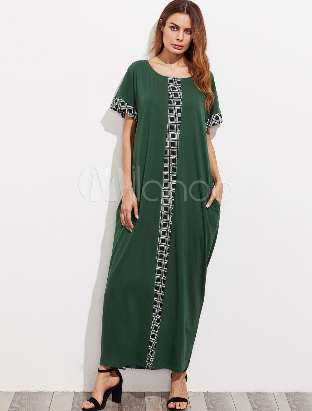 Maxi Kaftan Dress Women Tunic Dress Short Sleeve Oversized Jalabiya Dress (Women\\'s Clothing Arabian Clothing) photo
