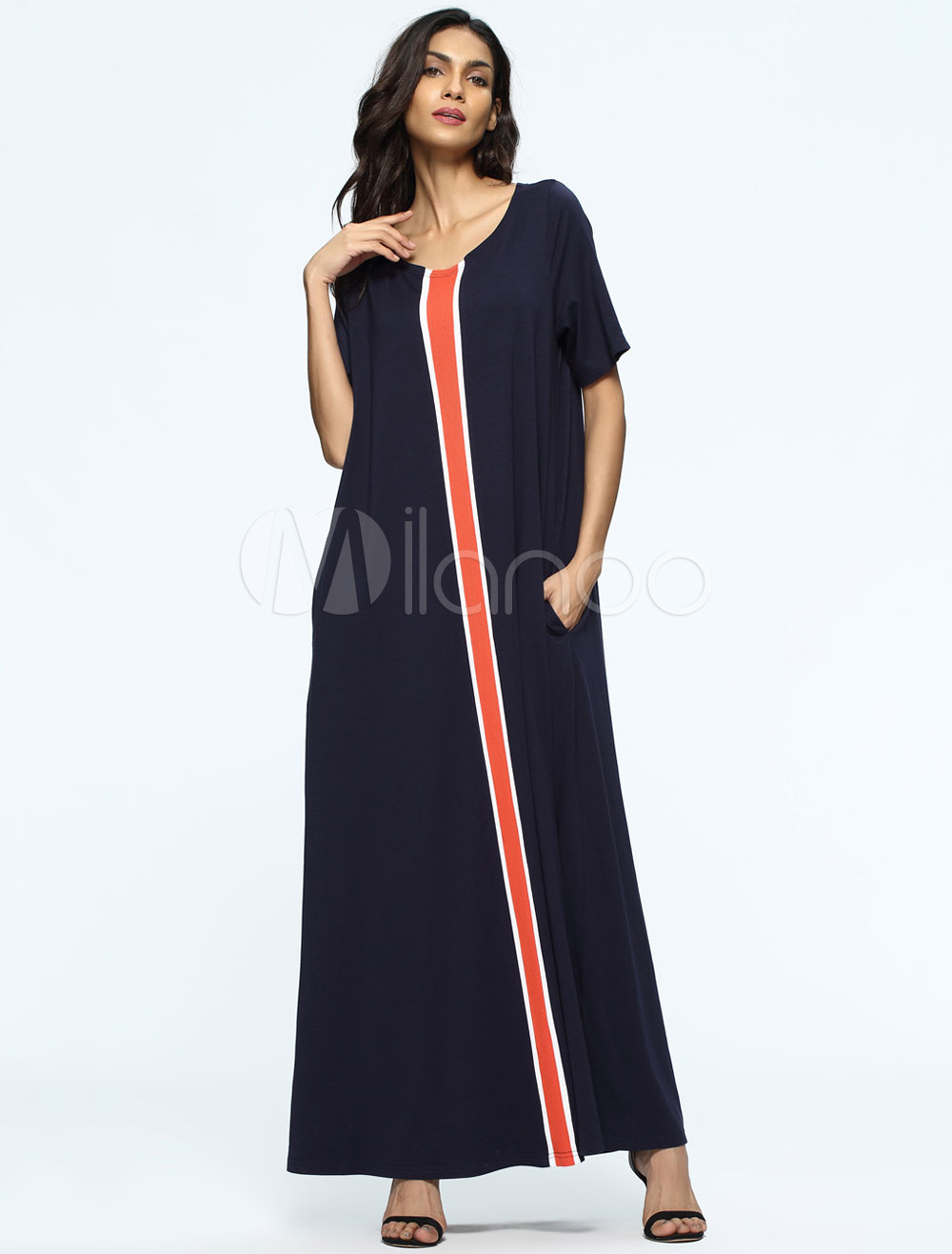 Black Muslim Abaya Dress Women Oversized Short Sleeve Maxi Dress (Women\\'s Clothing Arabian Clothing) photo