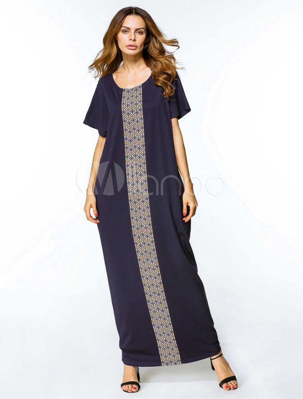 Maxi Kaftan Dress Blue Women Short Sleeve Oversized Tunic Dress (Women\\'s Clothing Arabian Clothing) photo