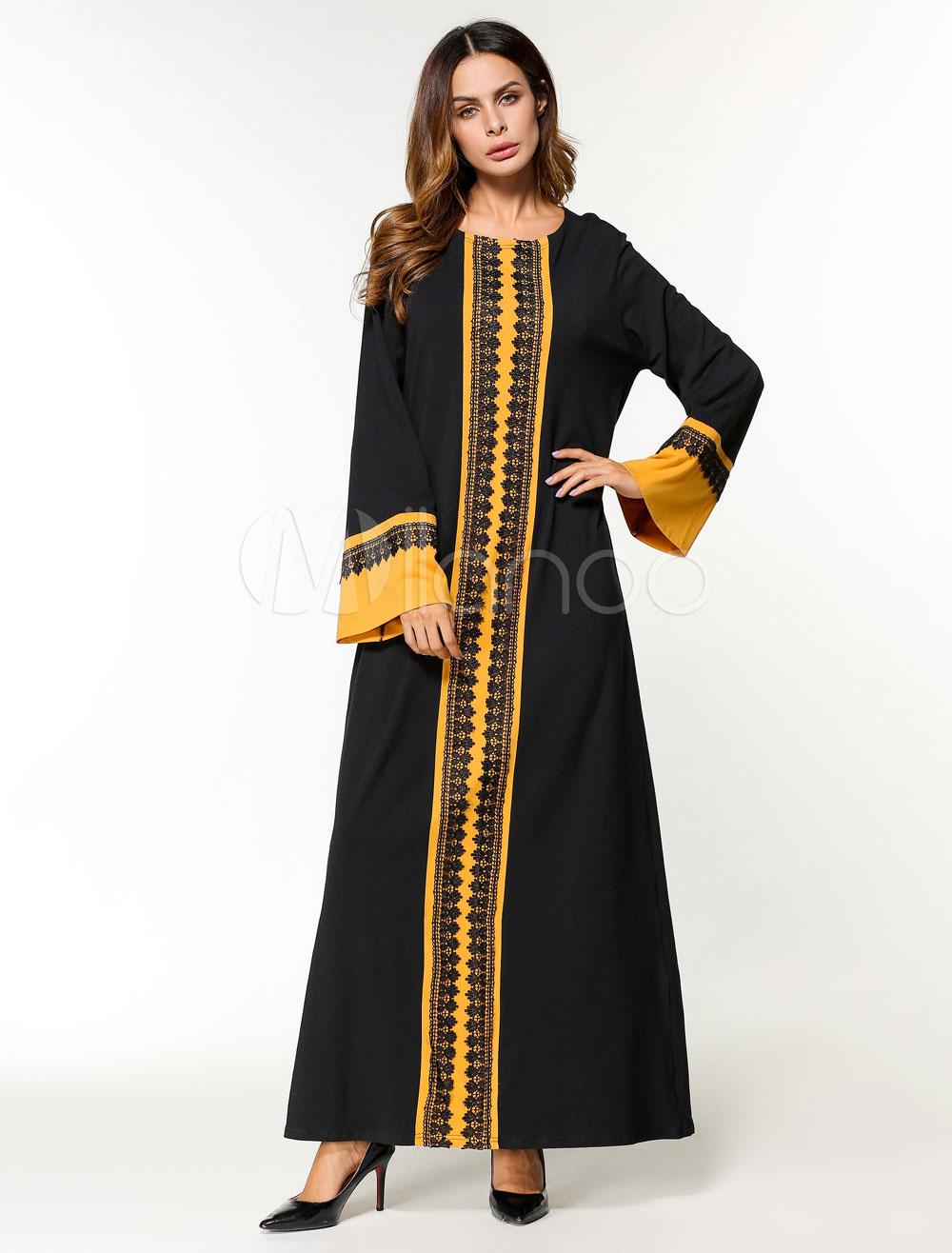 Black Abaya Dress Muslim Long Sleeve Two Tone Oversized Maxi Dress (Women\\'s Clothing Arabian Clothing) photo