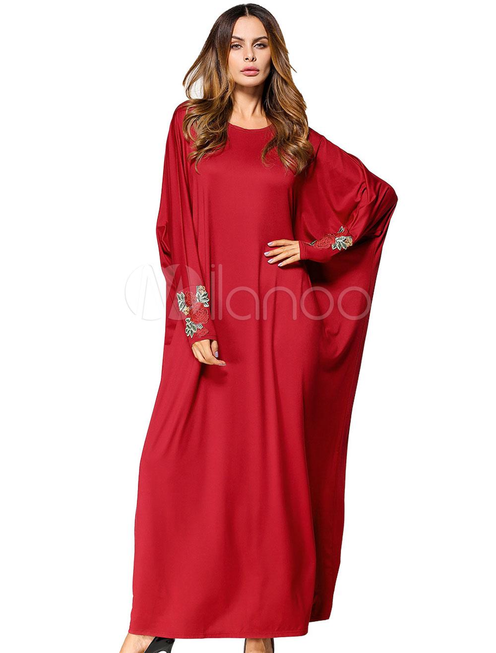 Women Kaftan Dress Red Floral Long Sleeve Batwing Oversized Jalabiya Dress (Women\\'s Clothing Arabian Clothing) photo