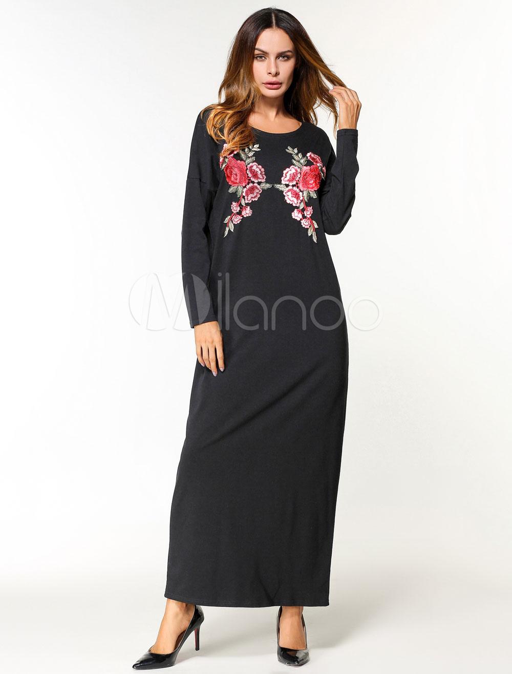 Black Abaya Dress Muslim Women Oversized Long Sleeve Floral Maxi Dress (Women\\'s Clothing Arabian Clothing) photo