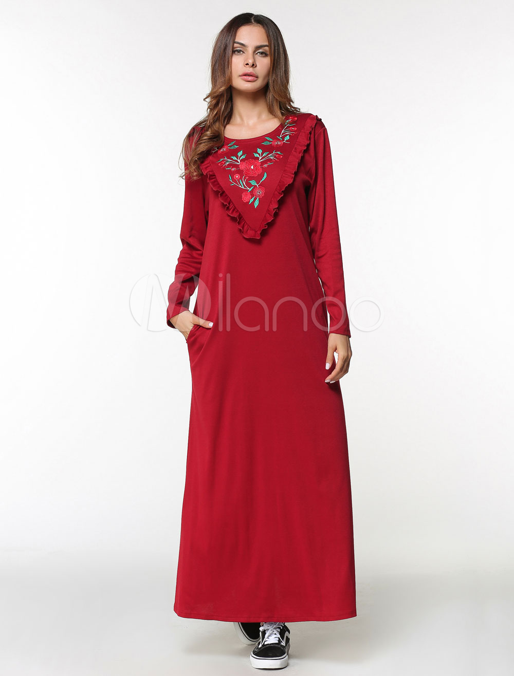 Oversized Kaftan Dress Women Red Floral Ruffles Long Sleeve Maxi Jalabiya Dress (Women\\'s Clothing Arabian Clothing) photo