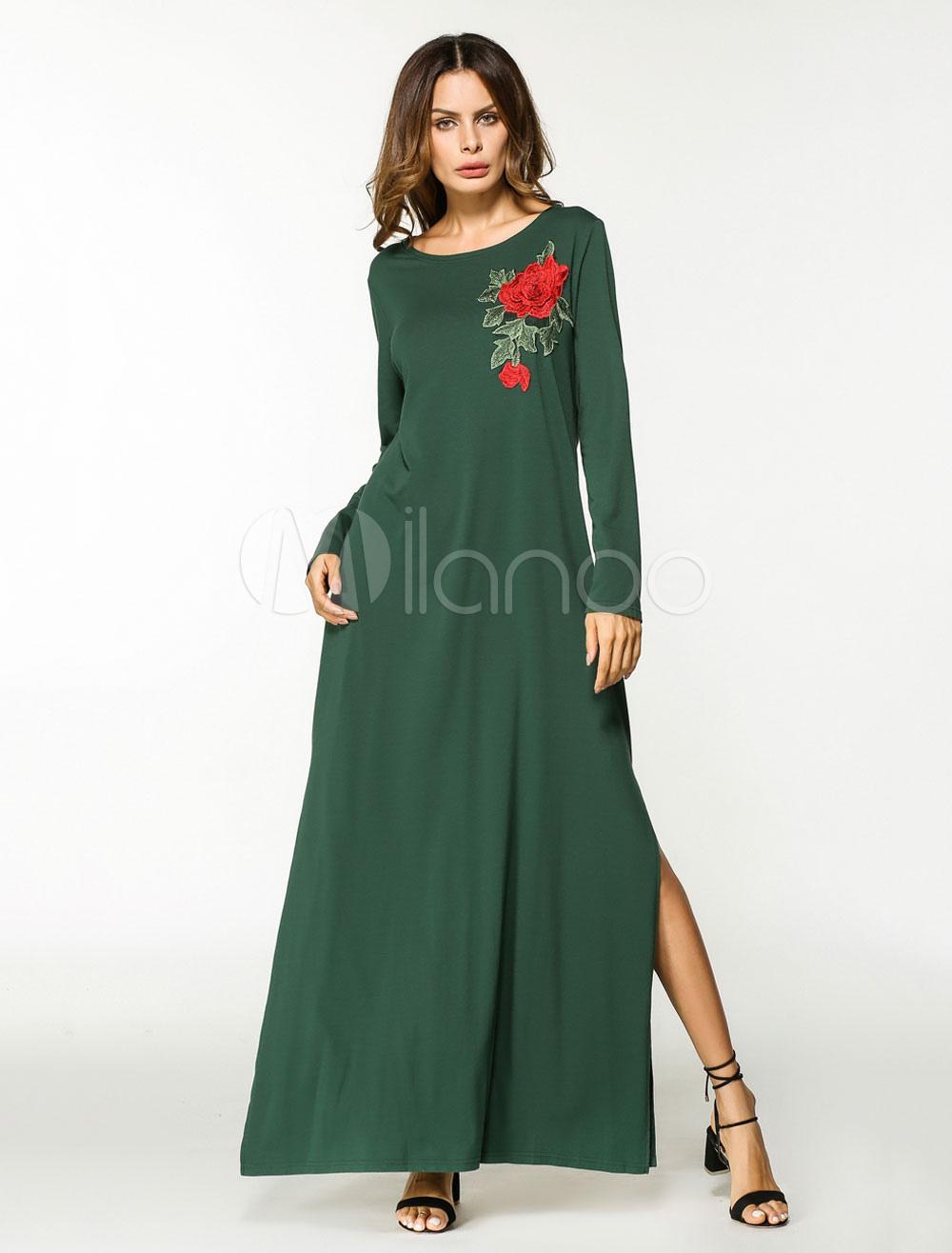 Women Kaftan Dress Green Floral Long Sleeve Split Maxi Tunic Dress (Women\\'s Clothing Arabian Clothing) photo