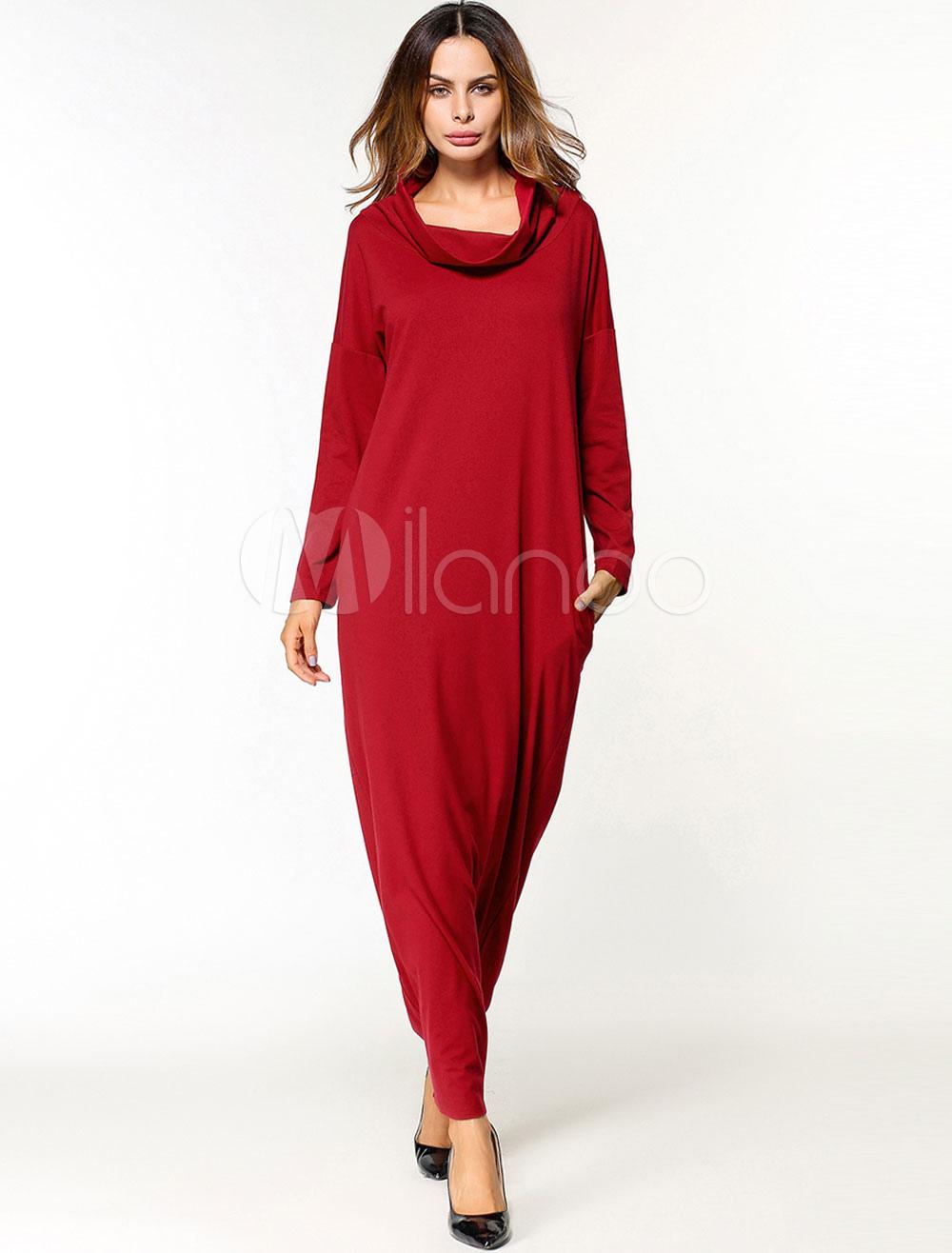 Red Kaftan Dress Women Long Sleeve Pockets Turtleneck Maxi Dress (Women\\'s Clothing Arabian Clothing) photo