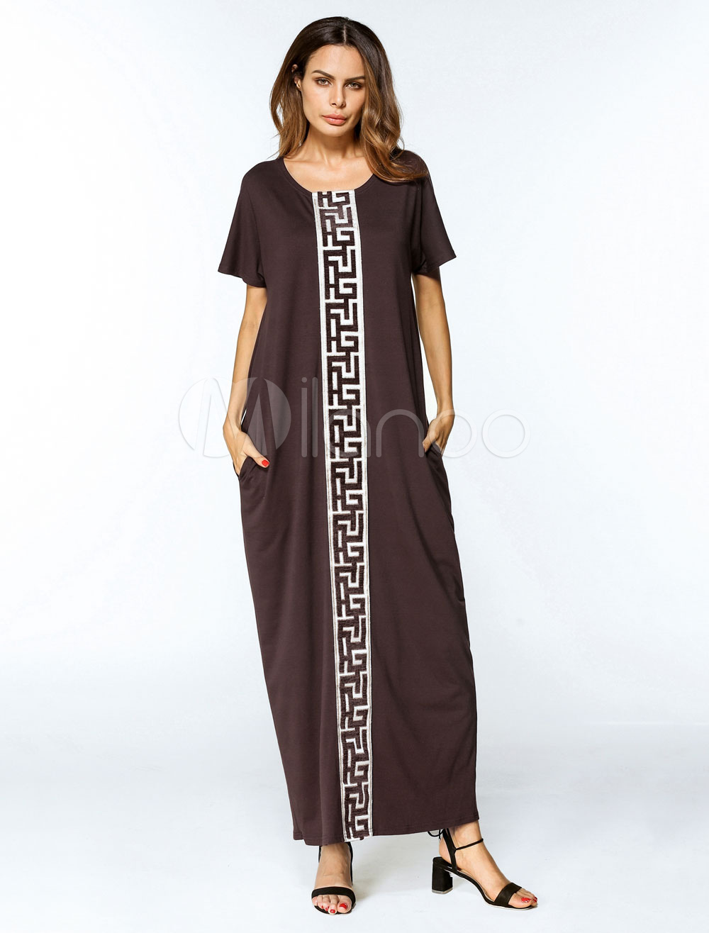Women Kaftan Dress Tunic Dress Short Sleeve Oversized Jalabiya Dress (Women\\'s Clothing Arabian Clothing) photo