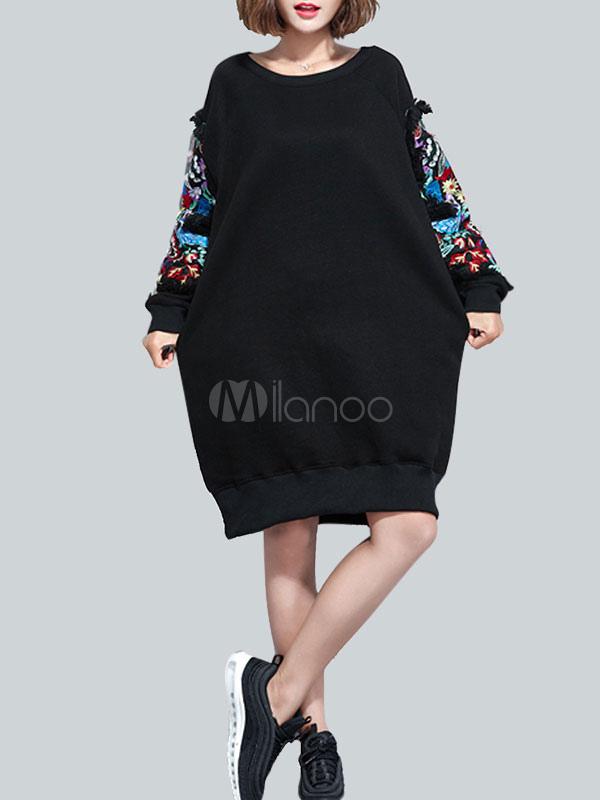 Black Shift Dress Embroidered Ruffle Women Long Sleeve Dress (Women\\'s Clothing Shift Dresses) photo