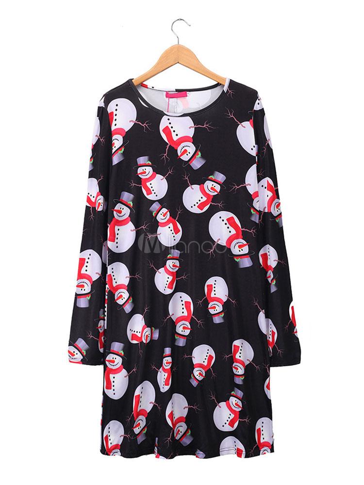 Ugly Christmas Dress Long Sleeve Print Black Women Shift Dress (Women\\'s Clothing Shift Dresses) photo