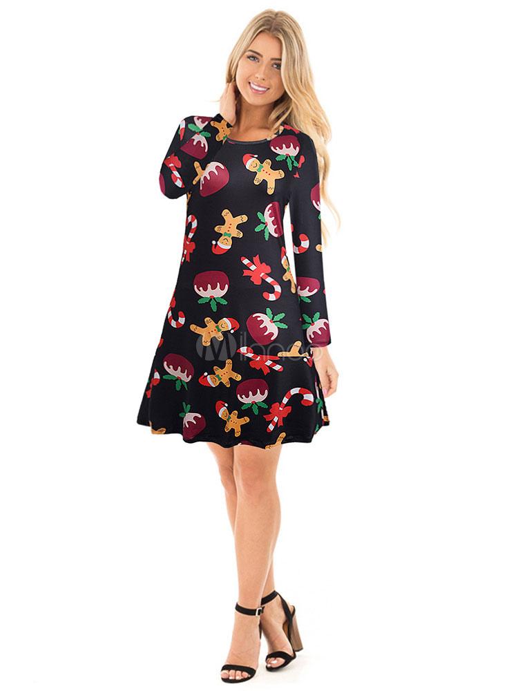Women Christmas Dress Print Long Sleeve Black Shift Dress (Women\\'s Clothing Shift Dresses) photo