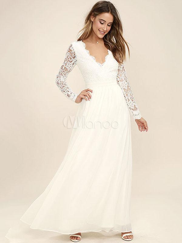 White Long Dress Chiffon Prom Dresses Lace V Neck Long Sleeve Women Maxi Dress (Women\\'s Clothing Maxi Dresses) photo