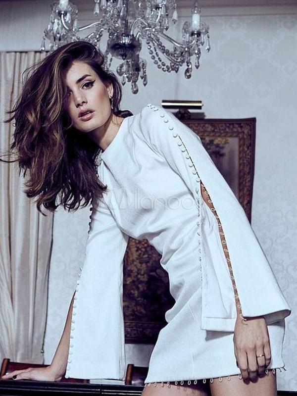 White Party Dresses Long Sleeve Round Neck Split Women Bodycon Dress (Women\\'s Clothing) photo