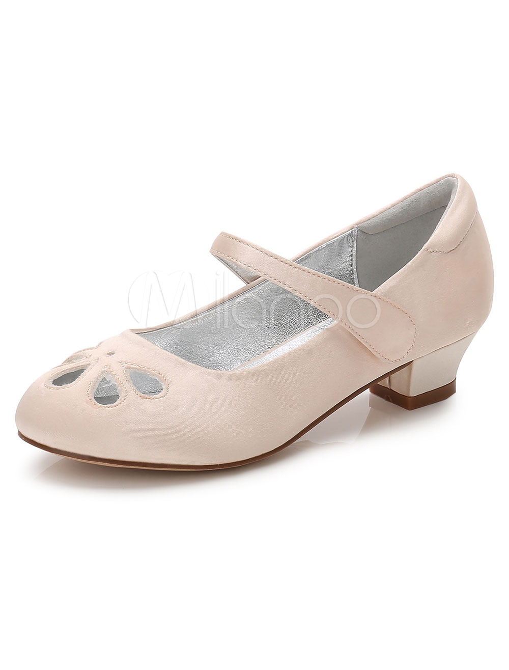 Champagne Flower Girls Shoes Chunky Heel Round Toe Cut Out Pumps thumbnail