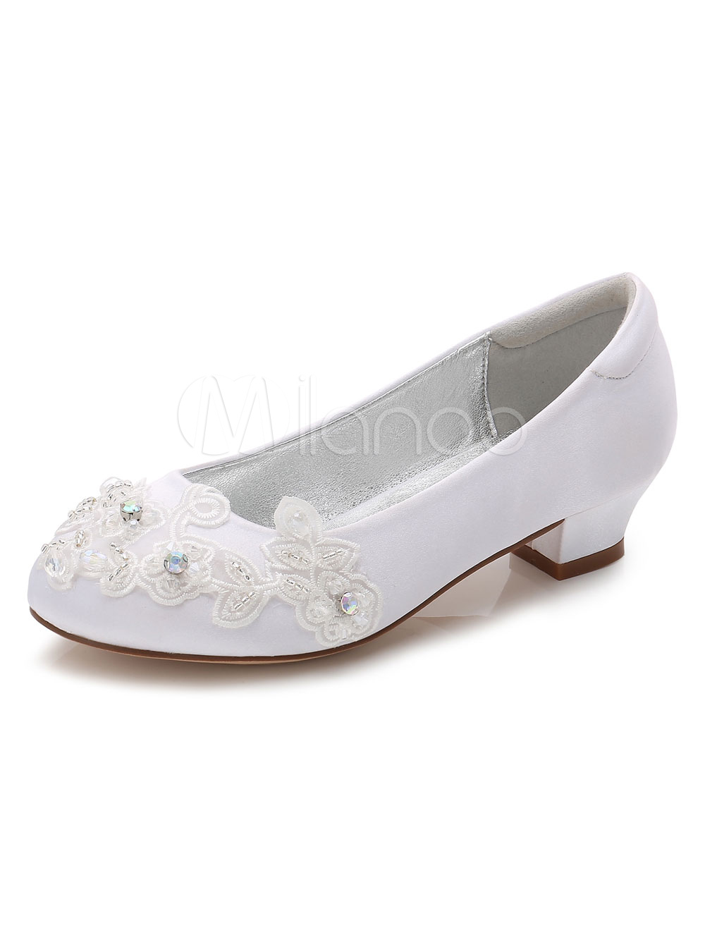 Flower Girls Shoes White Round Toe Chunky Heel Flowers Pumps thumbnail