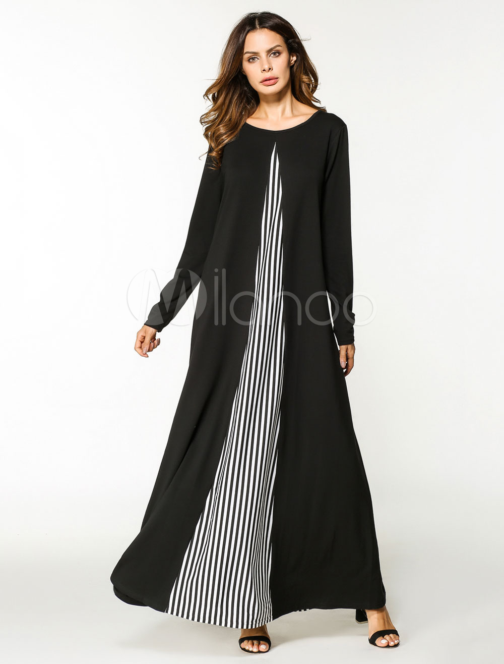 Muslim Black Abaya Dress Oversized Stripe Long Sleeve Women Maxi Kaftan Dress (Women\\'s Clothing Arabian Clothing) photo