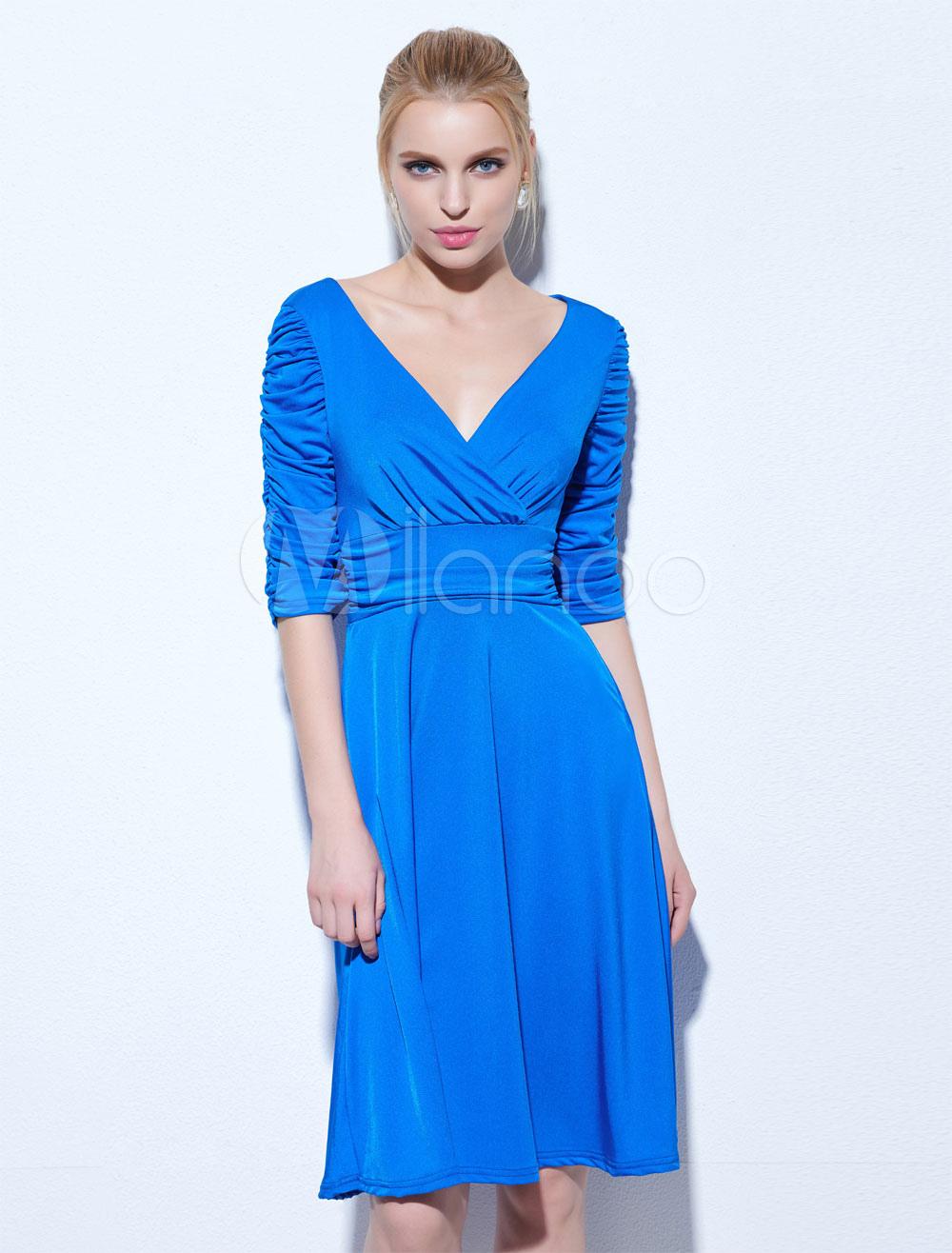 Women Skater Dress V Neck Half Sleeve Ruched Royal Blue Short Dress (Women\\'s Clothing Skater Dresses) photo