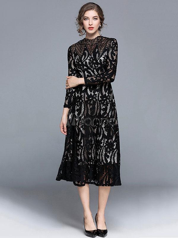 Lace Black Dress Semi Sheer Pleated Women Skater Dress (Women\\'s Clothing Lace Dresses) photo