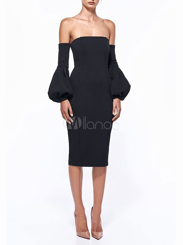 Black Party Dress Women Off The Shoulder Puff Sleeve Backless Bodycon Dress (Women\\'s Clothing Party Dresses) photo