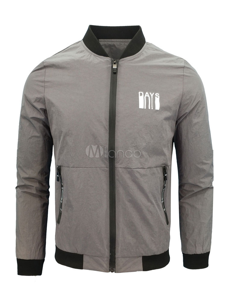 Men Grey Jacket Bomber Jacket Stand Collar Long Sleeve Zip Up Spring Jacket thumbnail