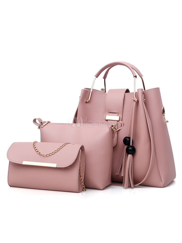 Leather Purse Bag Set Shoulder Handbags With Messenger Bag Clutch Bag Cameo Pink Composite Bag 3 Pcs For Women (Women\\'s Clothing Women's Bags) photo