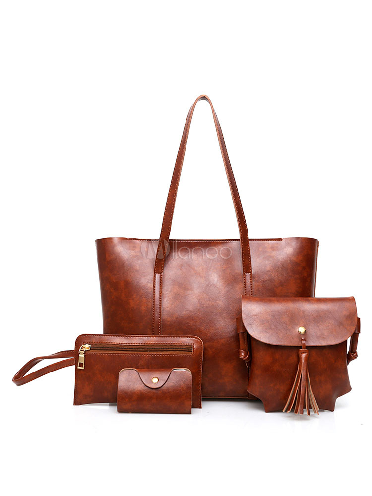 Leather Purse Set Women Tote Handbags With Fringe Shoulder Bag Clutch Bags Wallet Composite Bags Burgundy 4 Pcs (Women\\'s Clothing Women's Bags) photo