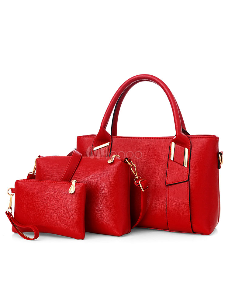 Red Leather Purse Set Handbags With Shoulder Bag Clutch Bag Composite Bags 3 Pcs (Women\\'s Clothing Women's Bags) photo