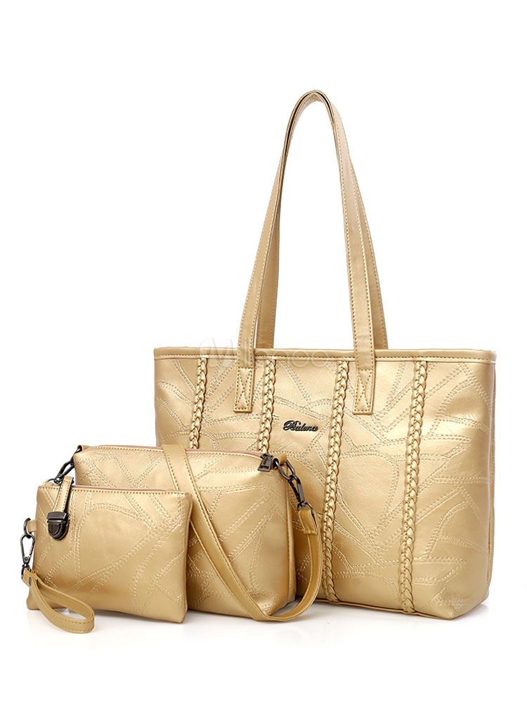 Gold Leather Purse Set Tote Handbags With Shoulder Bag Clutch Bag Women Composite Bags 3 Pcs (Women\\'s Clothing Women's Bags) photo