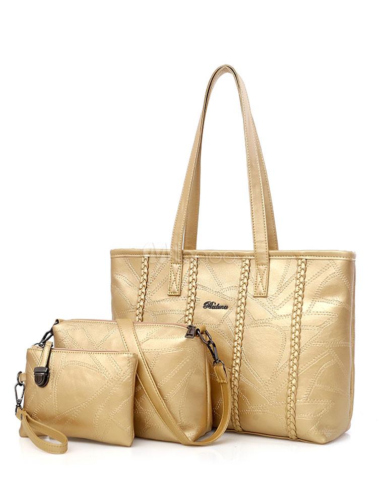 Gold Leather Purse Set Tote Handbags With Shoulder Bag Clutch Bag Women Composite Bags 3 Pcs (Women\\'s Clothing Women's Bags) photo