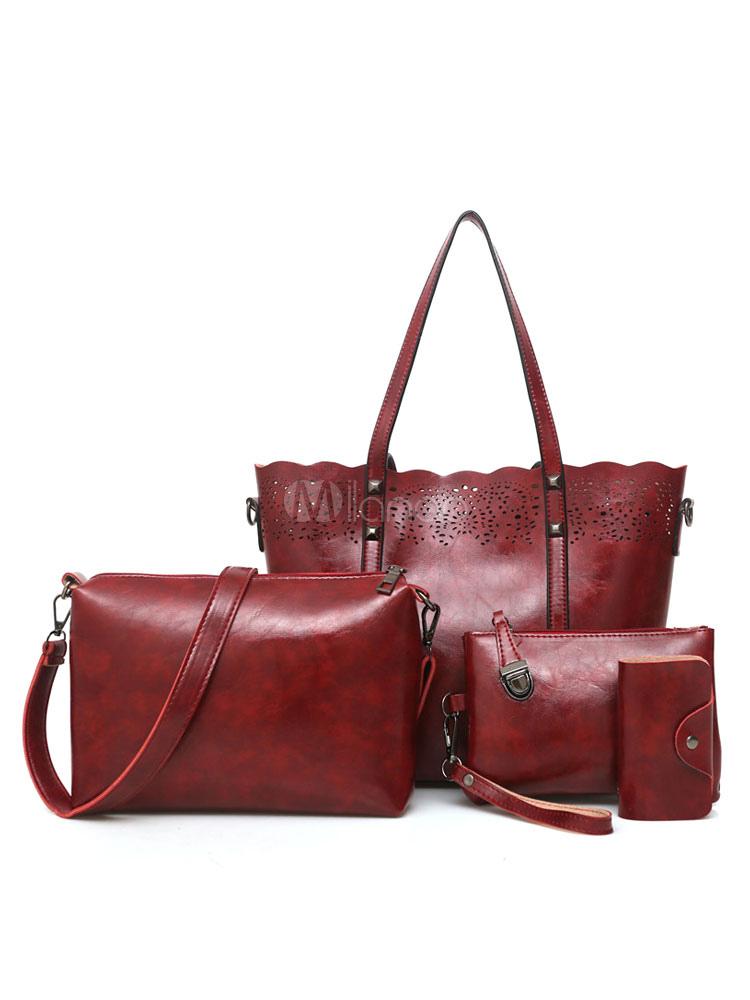 Women Purse Set Leather 4 Pcs Tote Handbags With Shoulder Bag Clutch Bag Wallet Burgundy Composite Bags (Women\\'s Clothing Women's Bags) photo