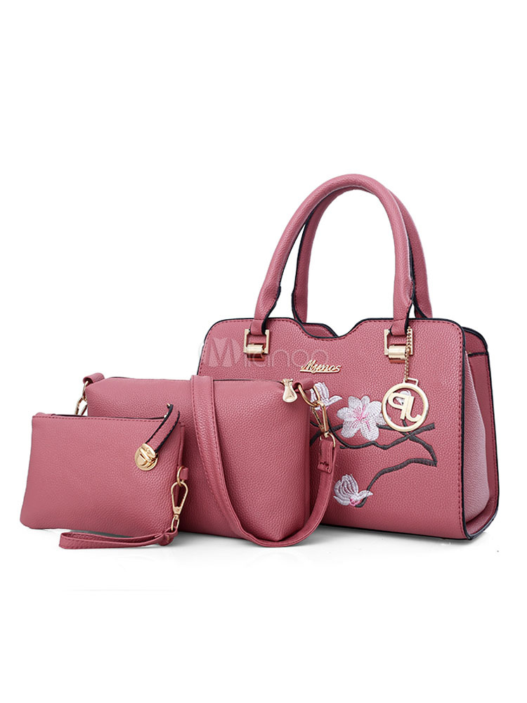 Leather Purse Set Women 3 Pcs Embroidered Handbag With Horizental Shoulder Bag Clutch Bag Cameo Pink Composite Bags (Women\\'s Clothing Women's Bags) photo
