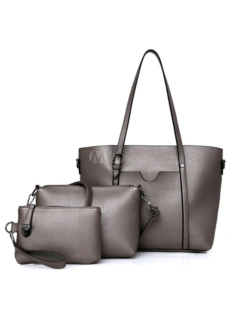 Leather Handbag Set 3 Pcs Purse Bag With Shoulder Bags Clutch Bag For Women (Women\\'s Clothing Women's Bags) photo