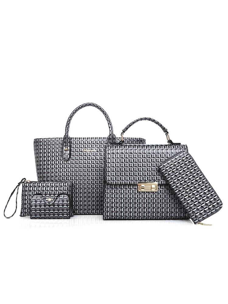 Leather Handbag Set Grey Purse Bag With Clutch Bags Wallet Women Bags 5 Pcs (Women\\'s Clothing Women's Bags) photo