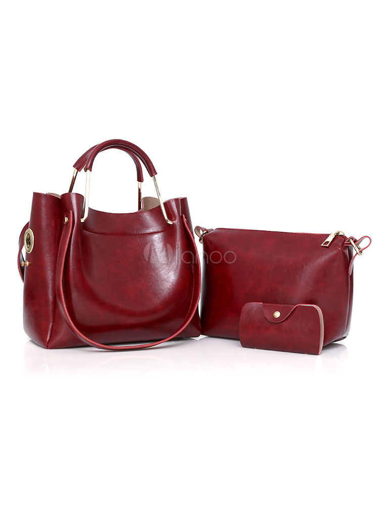 Leather Bags Set 3 Pcs Tote Purse Bag With Messenger Bag Wallet Burgundy Composite Bags For Women (Women\\'s Clothing Women's Bags) photo