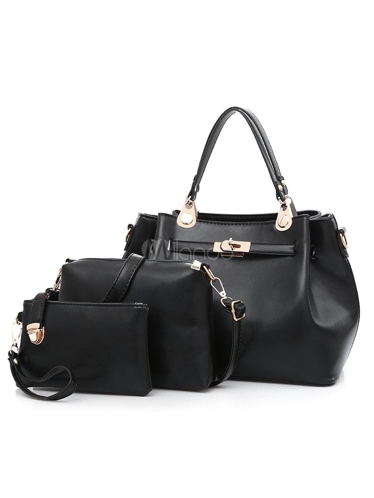 Black Leather Purse Set Tote Bag With Shoulder Bags Clutch Bag For Women 3 Pcs (Women\\'s Clothing Women's Bags) photo