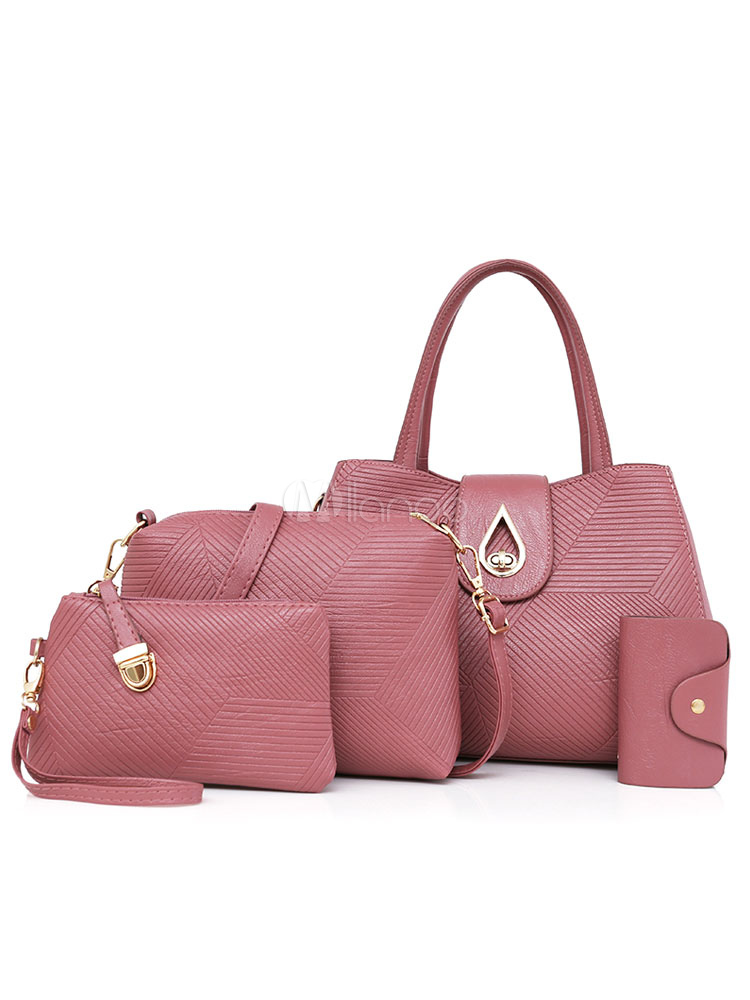 Women Leather Purse Set Handbag With Shoulder Messenger Bag Clutch Bags Wallet 4 Pcs Cameo Pink (Women\\'s Clothing Women's Bags) photo