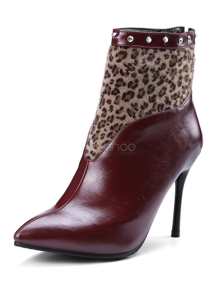 Burgundy Ankle Boots High Heel Booties Pointed Toe Women Boots thumbnail
