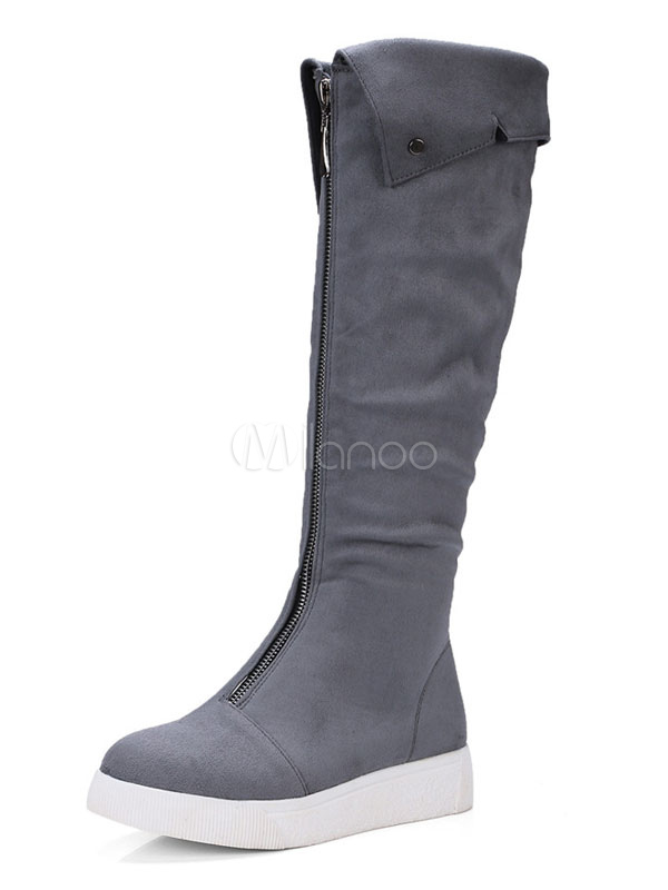 Grey Suede Boots Women Knee High Boots Round Toe Zipper Detail Winter Boots thumbnail