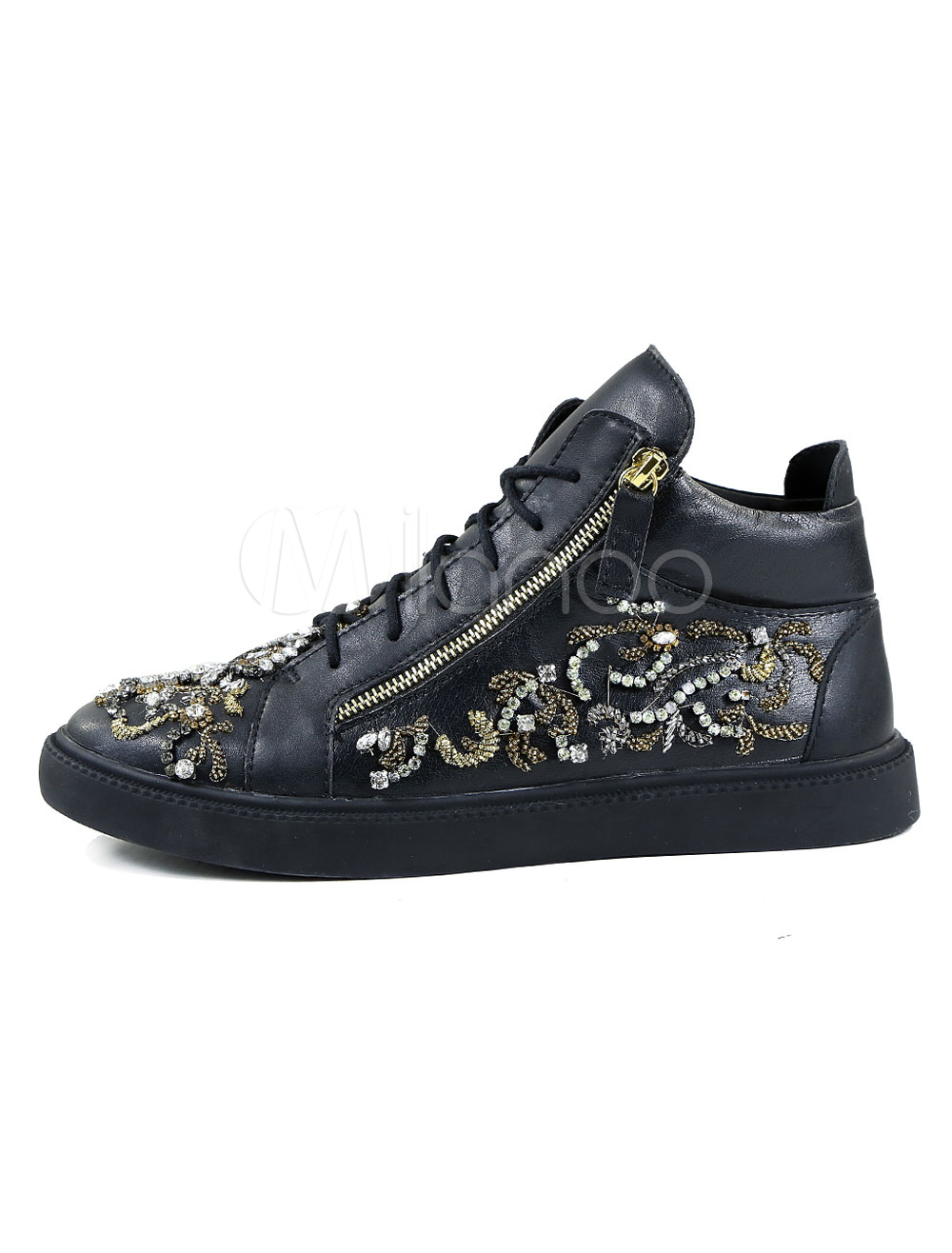 Black Men Sneakers High Top Skate Shoes Round Toe Rhinestones Lace Up Casual Shoes thumbnail