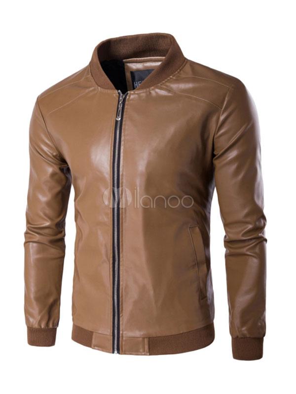Brown Leather Jacket Stand Collar Long Sleeve Short Jacket Men Jacket thumbnail