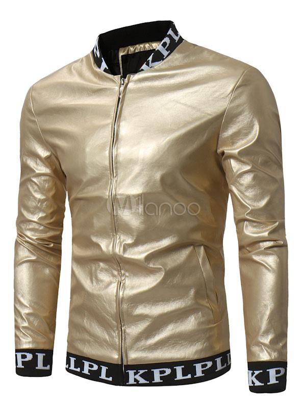 Men Leather Jacket Short Jacket Gold Stand Collar Long Sleeve Zip Up Spring Jacket thumbnail