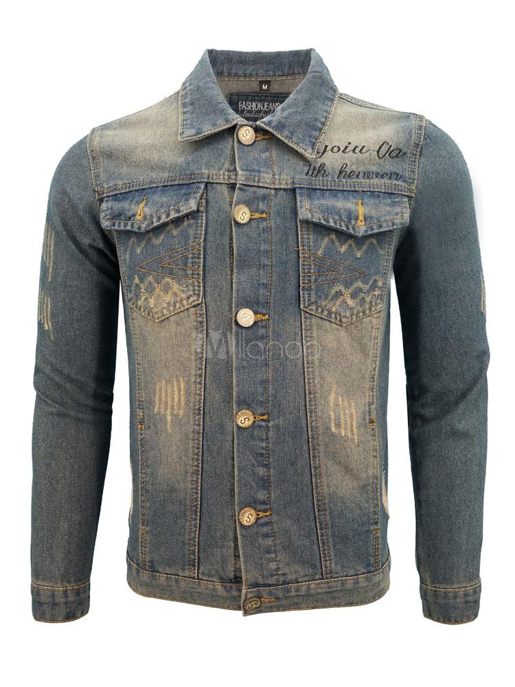 Men Denim Jacket Blue Spring Jacket Turndown Collar Long Sleeve Short Jacket thumbnail