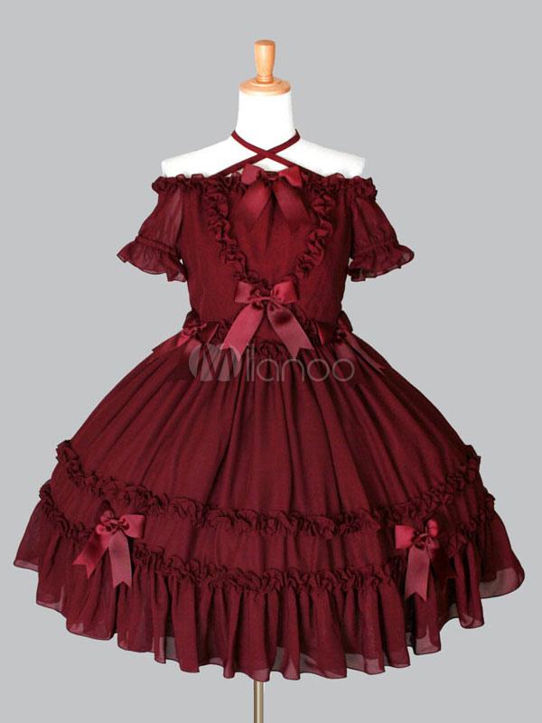 Rococo Lolita OP One Piece Dress Off The Shoulder Halter Short Sleeve Ruffles Bows Chiffon Burgundy Lolita Dress (Costumes) photo