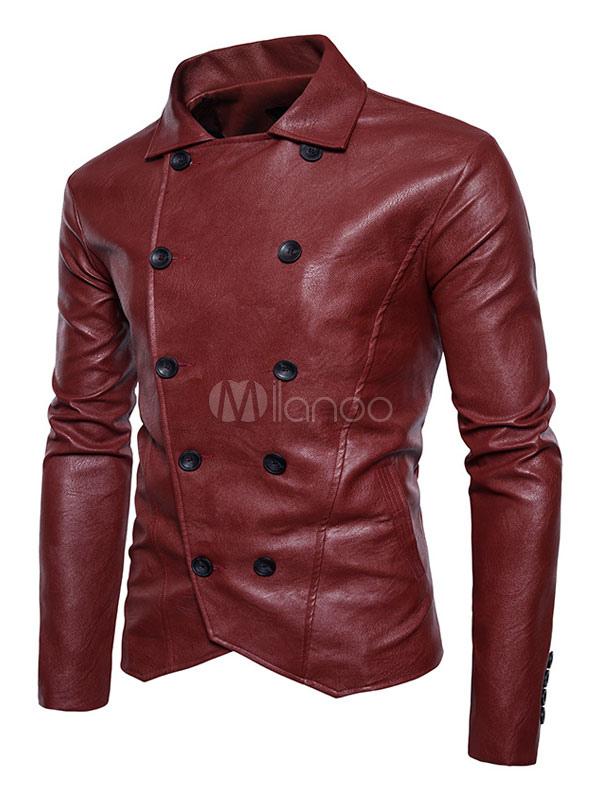 Burgundy Leather Jacket Men Casual Jacket Turndown Collar Long Sleeve Double Breasted Short Jacket thumbnail