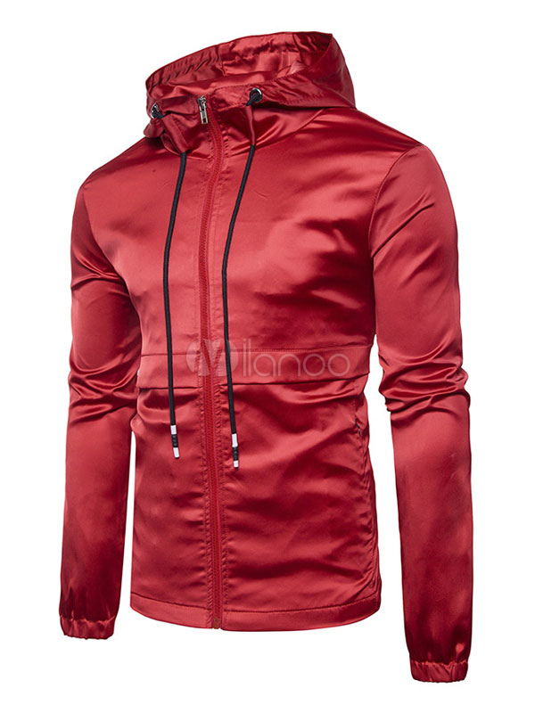 Men Jacket Burgundy Windbreaker Jacket Hooded Drawstring Long Sleeve Spring Jacket thumbnail