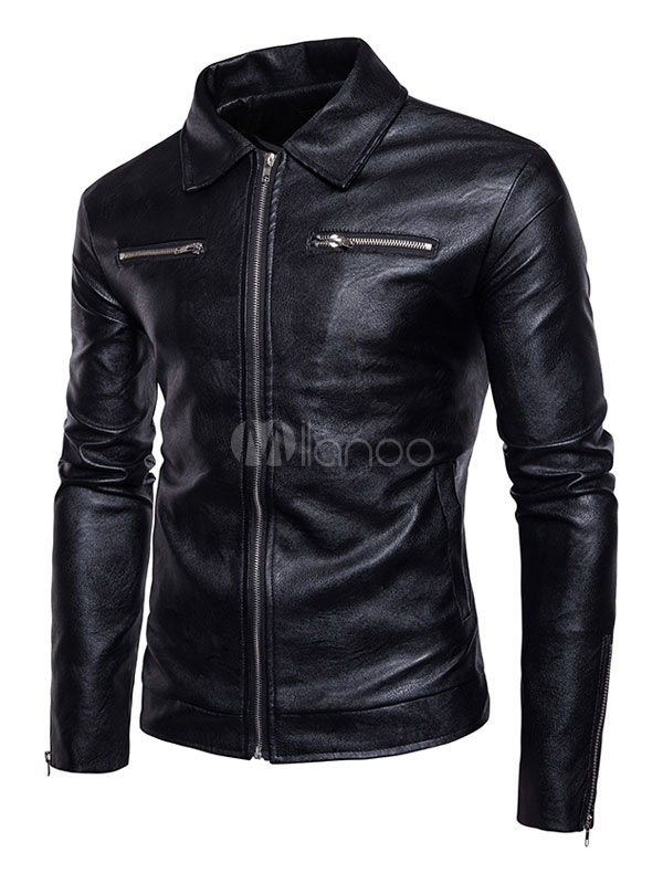 Black Leather Jacket Turndown Collar Long Sleeve Zip Up Short Jacket Men Motorcycle Jacket thumbnail